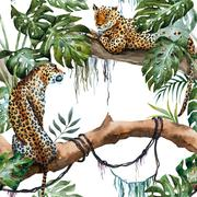 Watercolor raster leopard pattern Stock Illustration