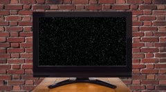 Flat Screen Television with Static Zooming into Chroma Key Green Screen - stock footage