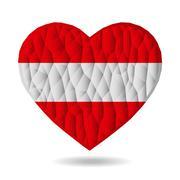 Vector - Heart of the Austrian flag. Love is a symbol of Australia. Heart flag - stock illustration