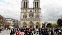 Time Lapse Zoom of Notre Dame Cathedral in Paris France Daytime Stock Footage