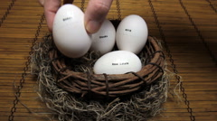 Adding bonds to nest eggs - stock footage