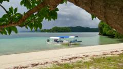 Tourist Boats White Sand Tropical Paradise Beach Palau Island Sea Stock Footage