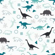 Silhouettes of dinosaurs. - stock illustration