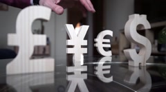Yen fell. Man's hand has thrown off the YEN Stock Footage