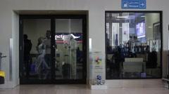 DUBAI, UAE - 3 FEBRUARY 2015: Smoking room. Dubai International Airport Stock Footage