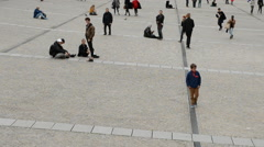 Time Lapse of Crowd outside the George Pompidou Center - Paris France - stock footage