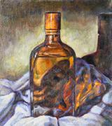 oil painting on canvas of a glass bottle. - stock illustration