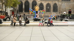 Time Lapse of Plaza Outside the George Pompidou Center - Paris France Stock Footage