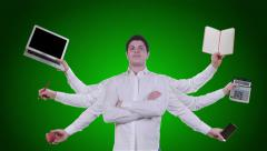 Young man has multiple hands on green background Stock Footage