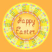 Happy easter card vector illustration orange - stock illustration