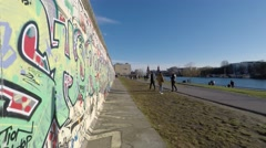 people at berlin wall, east side gallery time lapse - berlin, germany - stock footage