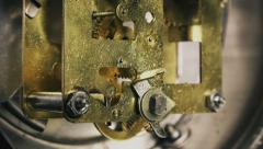 Vintage alarm clock mechanism working, close up footage of gears and springs Stock Footage