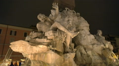 Piazza navona four rivers fountain close up at night Stock Footage