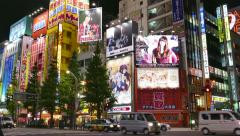 Traffic Cars Street Night Lights Signs Akihabara Tokyo Japan Asia Stock Footage