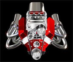 Hot Rod Engine - stock illustration