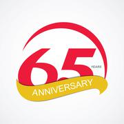 Template Logo 65 Anniversary Vector Illustration - stock illustration