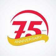 Template Logo 75 Anniversary Vector Illustration - stock illustration