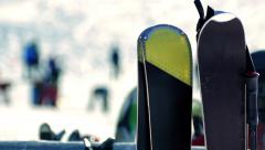 Snowboards At Ski Resort Closeup Stock Footage