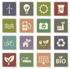 Alternative energy simply icons Stock Illustration