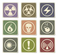 Hazard icons set - stock illustration