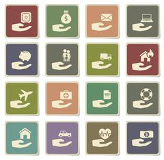 Insurance simply icons - stock illustration