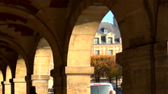 Arcade on the Place des Vosges in Paris. France. Arkistovideo