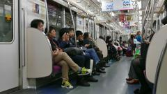 Traveling In Subway Underground Train People Commuting Tokyo japan Asia - stock footage