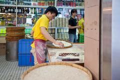 Famous traditional macao almond cookies production - stock photo
