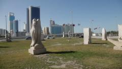 Sculpture Garden outside the National Museum, Manama, Bahrain Stock Footage