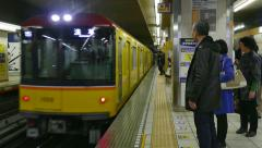 Underground Subway Station Train Railway People In Tokyo Japan Asia Stock Footage