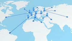 Zooming out from the Global Network Growing on the Earth Map. Business animation - stock footage