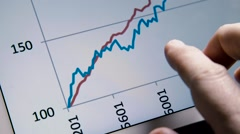 Business man hand with tablet browse rising diagram graph Stock Footage