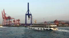 Passenger ship sailing in Haydarpasa Docks - stock footage