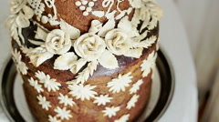 Colourful wedding pie with white swans Stock Footage