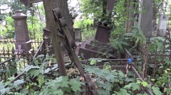 Stock Video Footage of destroyed groomed cemetery