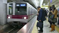 Rush Hour People Commuters Traveling In Subway Train Station Tokyo - stock footage