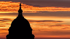 United States Capitol Dome with Sunrise Time Lapse Sky Stock Footage