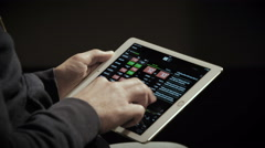 Close up of ipad. Digital stock market listing on a tablet screen Stock Footage