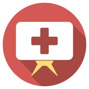 Health Care Presentation Flat Round Icon with Long Shadow Piirros