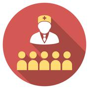 Medical Class Flat Round Icon with Long Shadow Stock Illustration