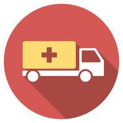 Medical Shipment Flat Round Icon with Long Shadow - stock illustration