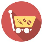 Stock Illustration of Medication Shopping Cart Flat Round Icon with Long Shadow