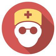 Medic Head Flat Round Icon with Long Shadow Stock Illustration
