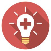 Medical Electric Lamp Flat Round Icon with Long Shadow - stock illustration