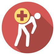 Medication Courier Flat Round Icon with Long Shadow Stock Illustration