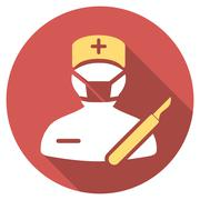 Surgeon Flat Round Icon with Long Shadow Piirros