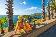 Tourist at Phromthep Cape viewpoint - stock photo