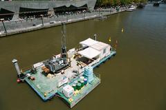 Dredging Barge, Yarra River, Melbourne. - stock photo