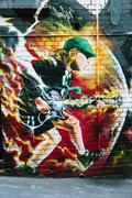 Mural of Angus Young in AC/DC Lane, Melbourne Stock Photos