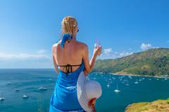 Woman looking viewpoint Stock Photos